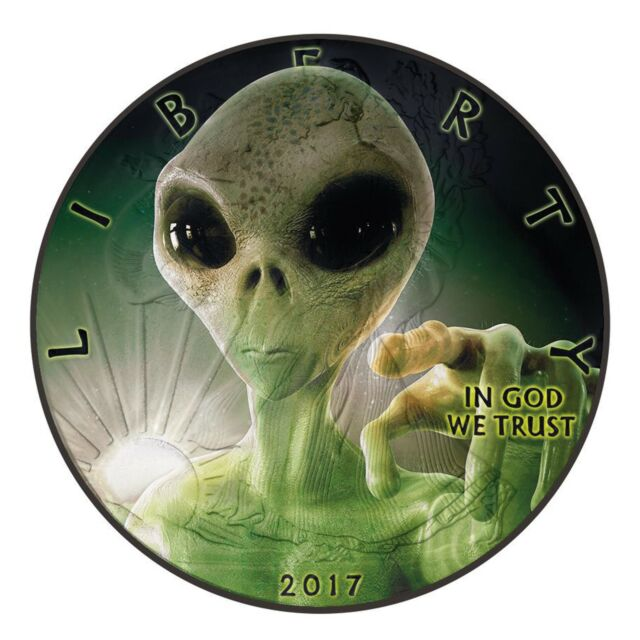 1$ 2017 USA - Liberty - Glow in the dark - Alien