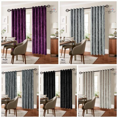 CRUSHED VELVET CURTAIN READY MADE FULLY LINED EYELET RING TOP HEADER CURTAINS
