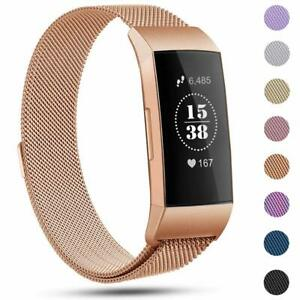 For-Fitbit-Charge-3-Strap-Replacement-Milanese-Band-Metal-Stainless-Steel-Magnet