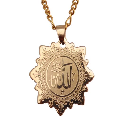 Engraved 18k Gold Pt Allah Necklace Chain Islamic Muslim God Charm Quran Gift