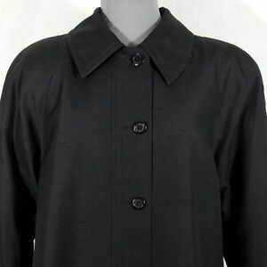 Vintage-Bullocks-Wilshire-Coat-Black-Linen-L-XL-Long-Fully-Lined-Made-in-USA