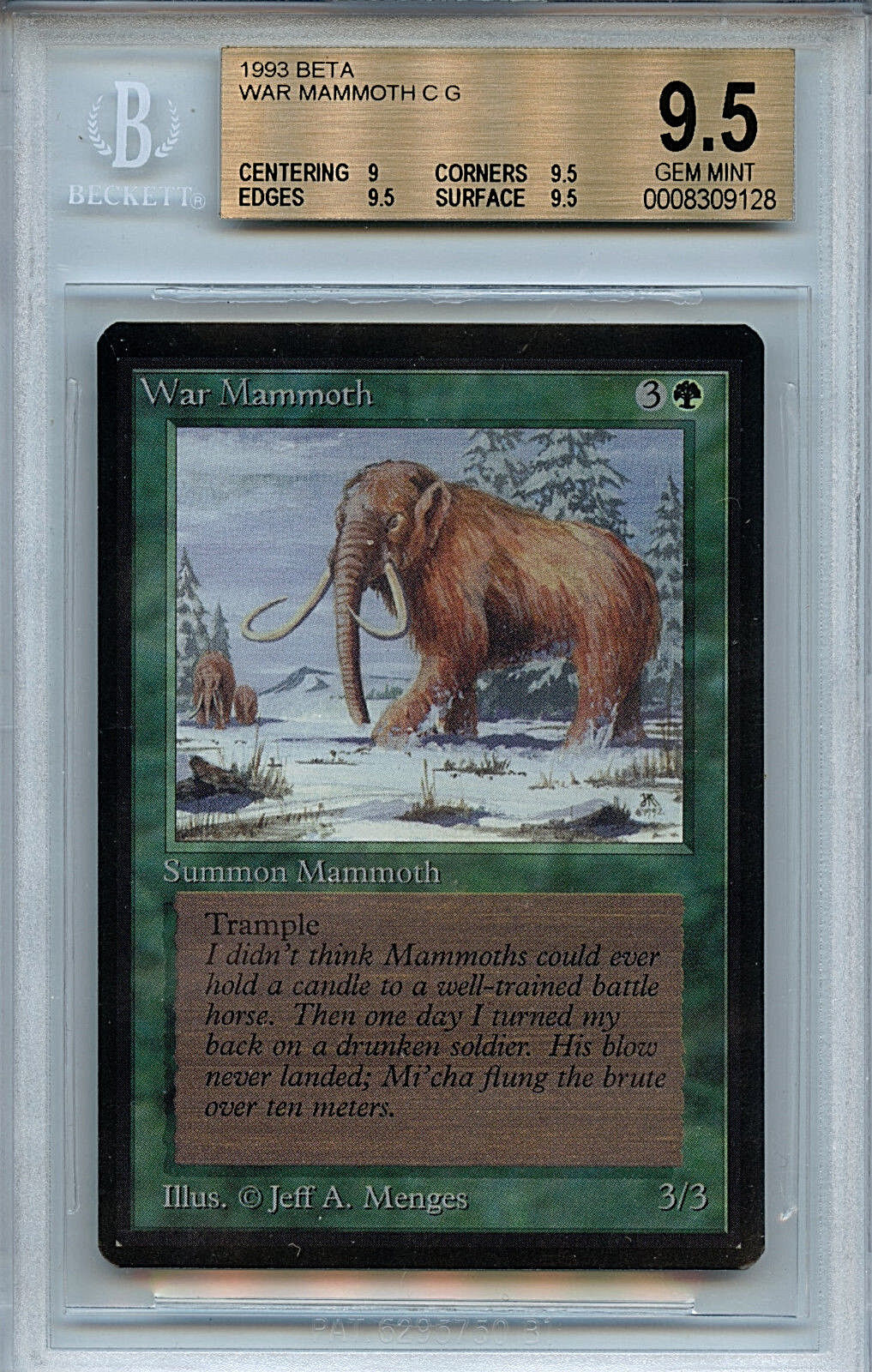 MTG Beta War Mammoth BGS BGS BGS 9.5 Gem Mint Card Magic WOTC 9128 6beff8