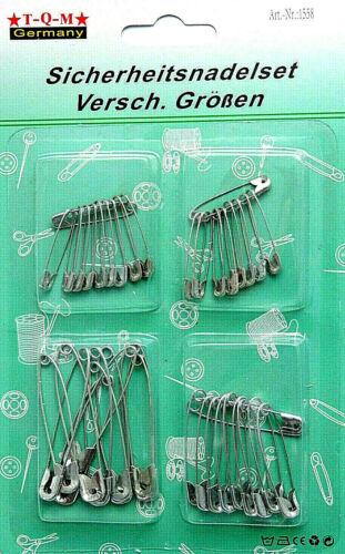Sicherheitsnadeln verschiedene Größen  Set Nadeln Metall  Nähen 40-tlg