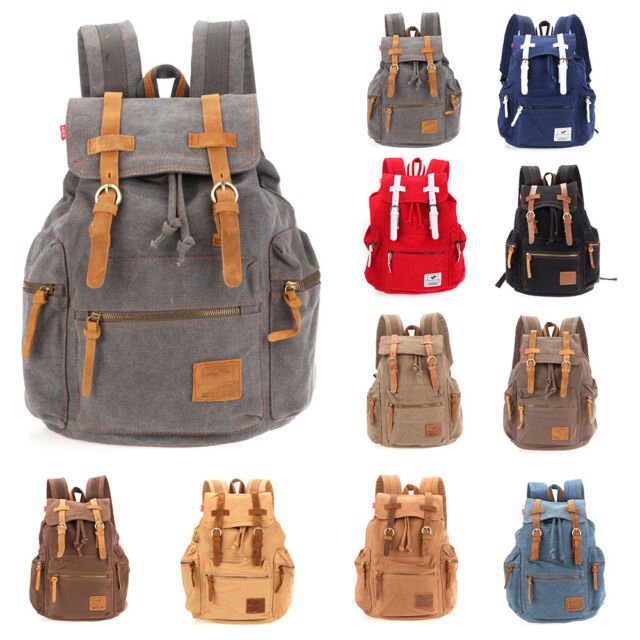 Vintage Mens Canvas Backpack Sport Camping Travel Hiking Rucksack Schoolbag 32L