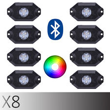 High Power 8pc RGB LED Rock Light Kit w/ Bluetooth For Car Jeep Truck SUV Bpat