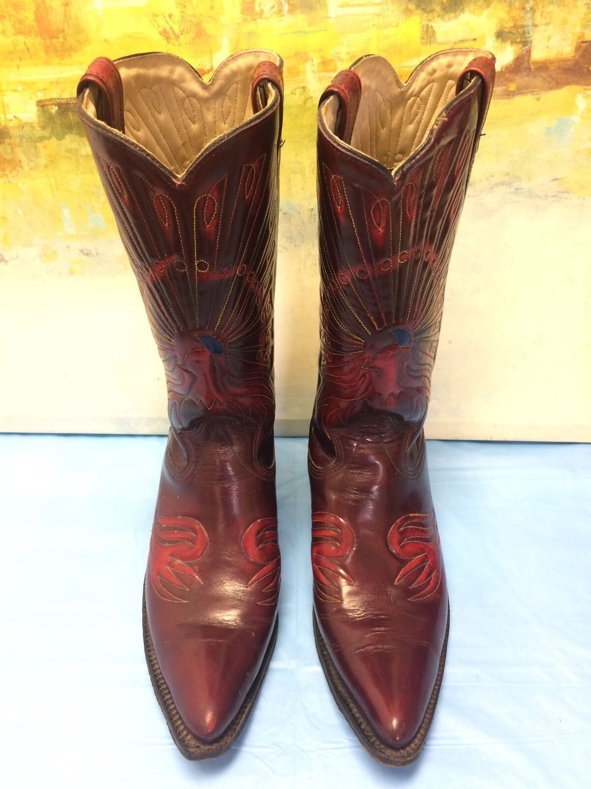 SEARS MENS LEATHER CHERRY BOOTS SIZE 10 D