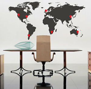 World Map Wall Art Stickers Wall Decals With Red Pointer Ebay