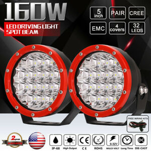 Details About Pair 5inch 160w Cree Round Led Driving Lights Red Spot Beam Work Offroad Atv Hid