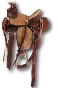 D-A-Brand-Kid-039-s-10-034-Medium-Oil-Tooled-and-Buckskin-Wade-Pony-Saddle-Horse-Tack