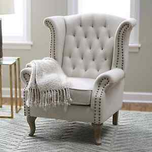Wingback Accent Chair Tufted Nailhead Trim Linen Blend Office Living
