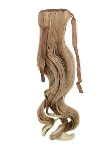 Postiche-Tresse-Blonde-Melange-Ondules-45cm-YZF-TC18-27T613-Bande-Clip-Extension