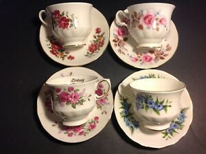 4-SETS-CUPS-amp-SAUCERS-BY-QUEEN-ANNE-BONE-CHINA-ENGLAND-LOT-34