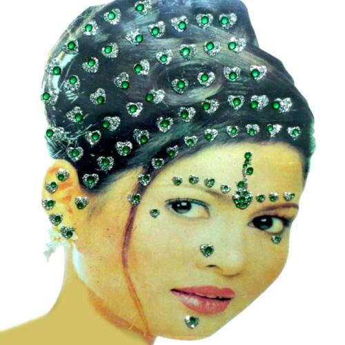 Bollywood Bindis Indisch Haarschmuck Kopfschmuck Strass Hochzeit Karneval grün
