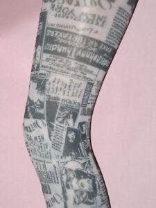 70-den-Black-White-Newsprint-Tights-8-14-Comic-Book