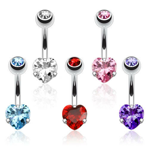Heart CZ Prong Set Navel Belly Ring 316L Surgical Steel
