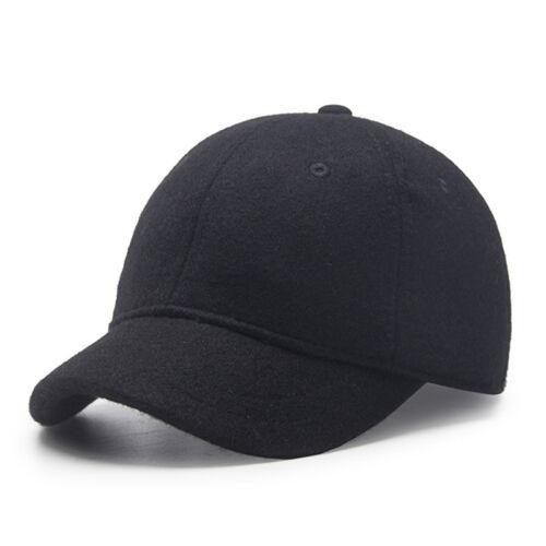 Unisex Winter Wool Baseball Cap Short Brim Adjustable Snapback Hat Blend Caps