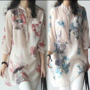 Women-Chic-Retro-Linen-Mandarin-Embroidered-3-4-Sleeve-Tunic-Top-Blouse-Shirt-cn