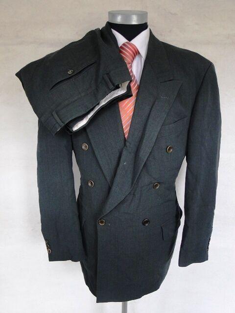 Hugo Boss Anzug Al Capone Catainia Zweireiher Dunkelgrau Unifarben Gr. 50