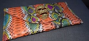 Genuine-Python-Crystal-Skull-Multi-Colour-Foldover-Clutch-Bag
