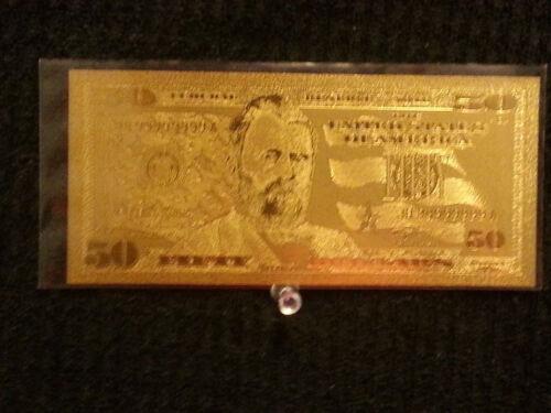 24 KARAT 99.9/% GOLD U.S.A $ 50 DOLLAR BILL- COMES IN RIGID PVC BILL HOLDER