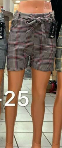 New Women Ladies Shorts check Pattern Pants Stretch Waistband Bow 8-12