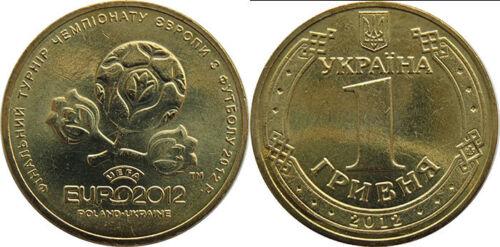 "UKRAINE 1 HRIVNIA /""UEFA EURO FOOTBALL SOCCER/"" 2012 COIN UNC"