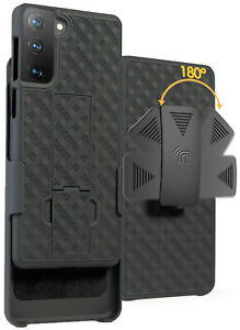 Black-Hard-Case-Cover-Stand-and-Belt-Clip-Holster-for-Samsung-Galaxy-S21-Phone