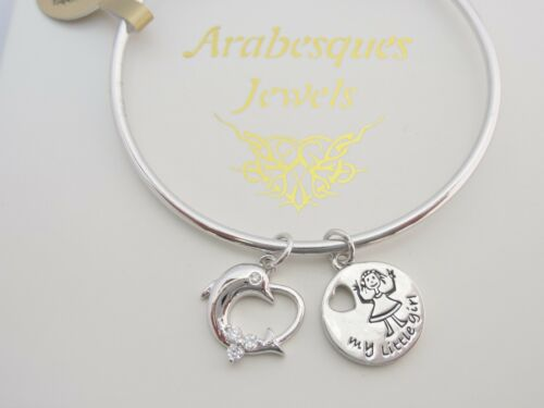 """/""""MY LITTLE GIRL/"""" GENUINE STERLINA MILANO STACKING CHARM BANGLE DOLPHIN//HEART"""