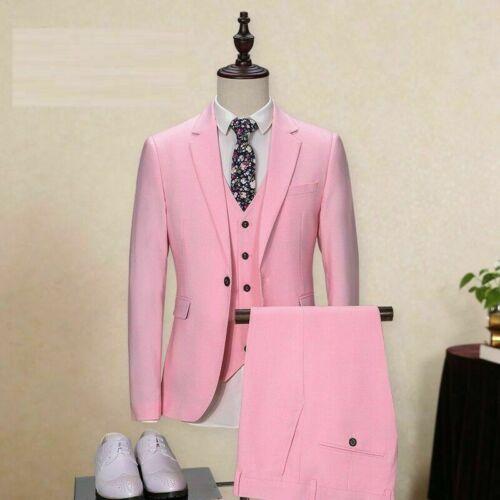 Men/'s Pink 3 Piece Suits Tailored Fit Blazer Pants Groom Wedding Dinner Tuxedos