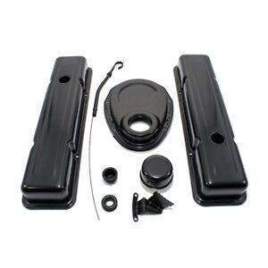 Black-Chevy-Dress-Up-Kit-Short-Valve-Covers-1958-86-SBC-283-305-327-350-400