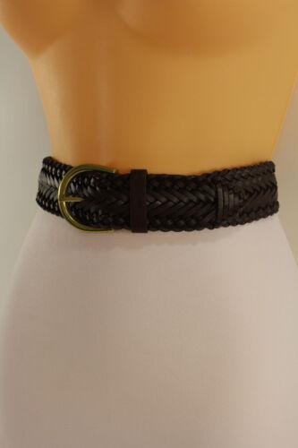 New Aeropostale Women Brown Braided Faux Leather Elastic Band Fashion Belt S M L