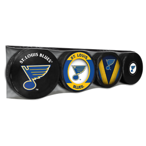 St. Louis Blues Collectors Package of (4) NHL Team Logo Souvenir Hockey Pucks