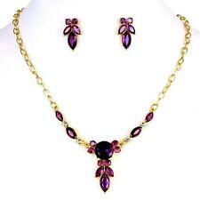 Gold Plated Purple Crystal And Rhinestones Teardrop  Necklace Earrings Set