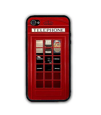 VINTAGE UK LONDON RED TELEPHONE BOOTH RUBBER CASE COVER For iPhone 6S 6 5S 5C 5