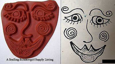 Fun Faces Face Design Molding Mat Texture Rubber Stamp Paper /& Polymer Clay