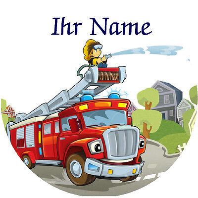 Tortenaufleger Feuerwehr mit Ihrem Namen, 20cm, essbare Tortendekoration