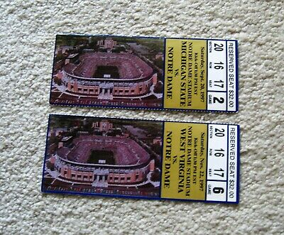 2 NOTRE DAME FOOTBALL TICKET STUBS 9/20 & 11/22/97 Mich ...
