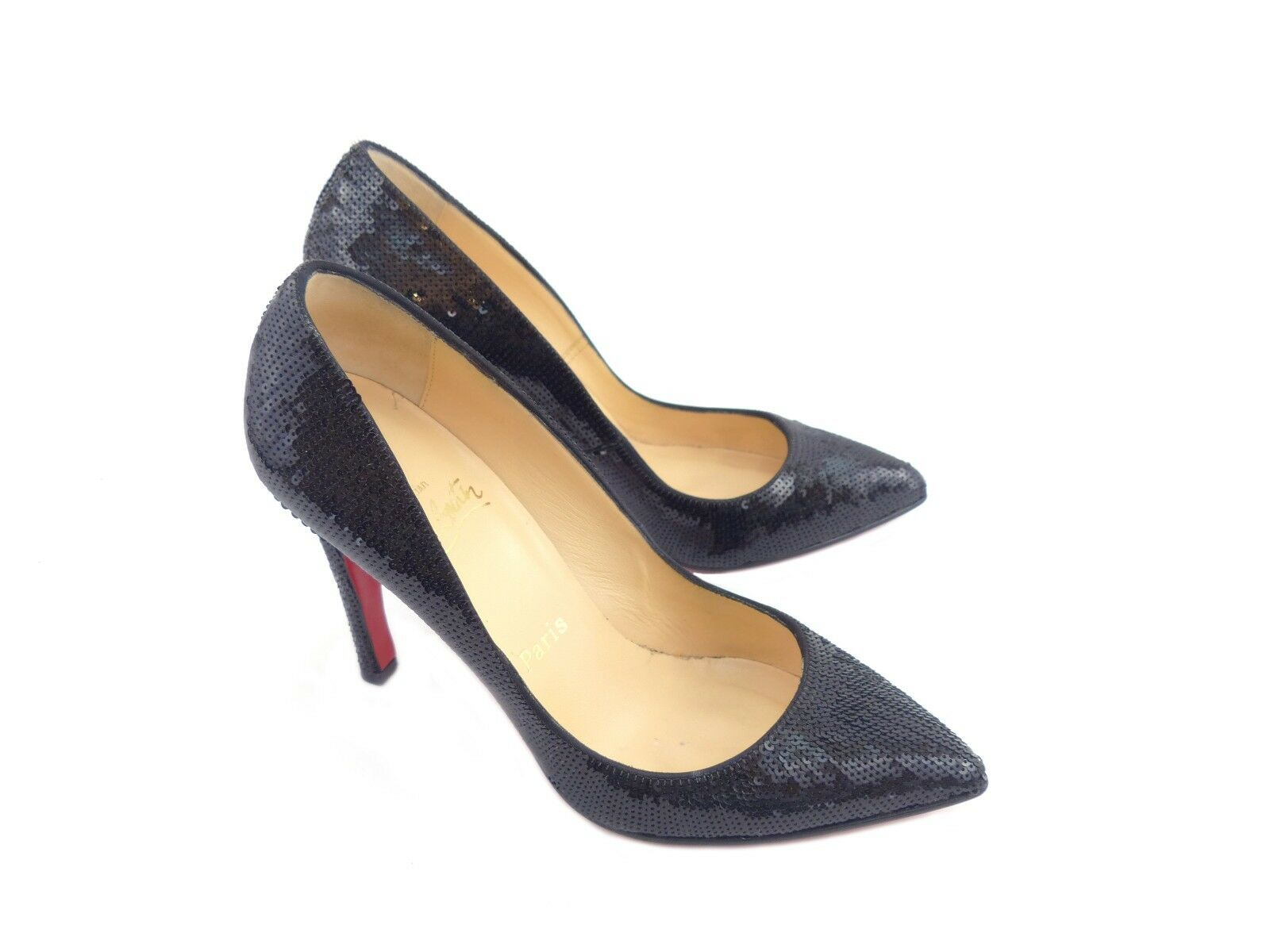 Christian Louboutin Pigalle 100 Nero Paillettes [33% RRP]