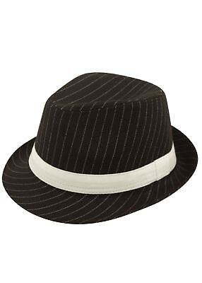 Adult 20s Gangster Deluxe Black White Stripes Trilby Hat Capone Fedora Accessory