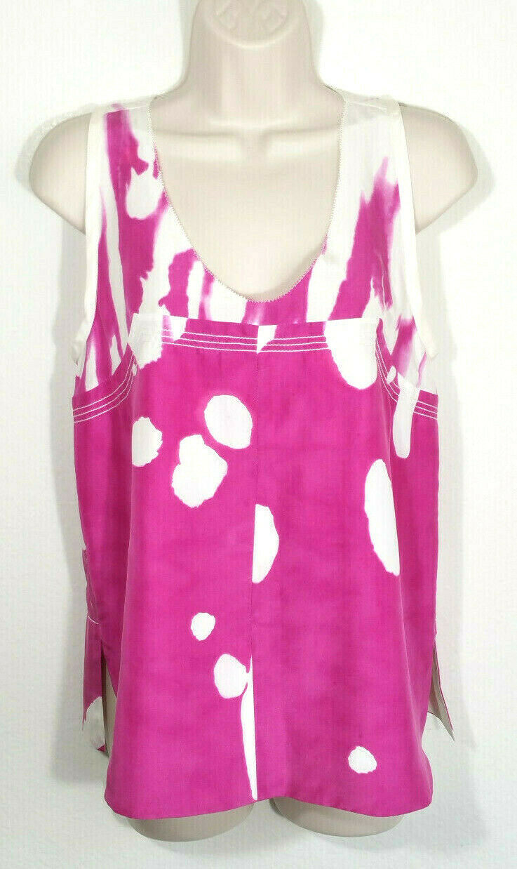 Diane von Furstenberg Sz 2 Top Blouse Fuchsia Weiß Ryan Printed WaterFarbe Silk