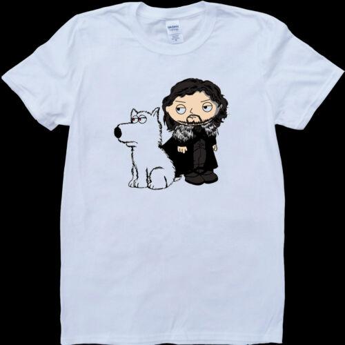 Stewie griffin jon snow-game of thrones white custom made tee-shirt homme