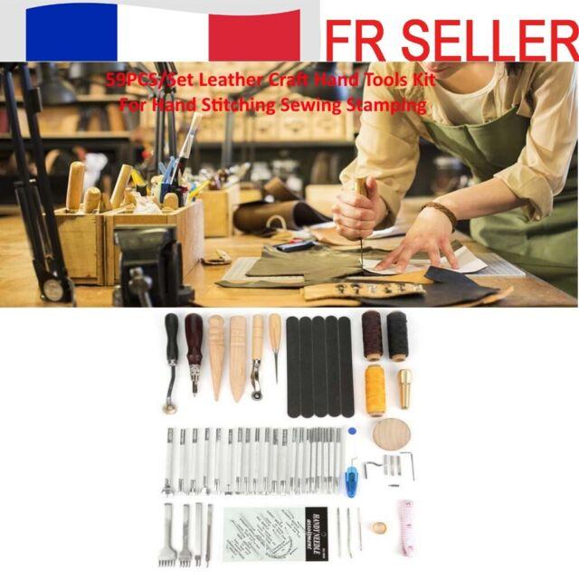59PCSKit d'outils manuels de métier en cuir pour coudre à la main l'estampillage