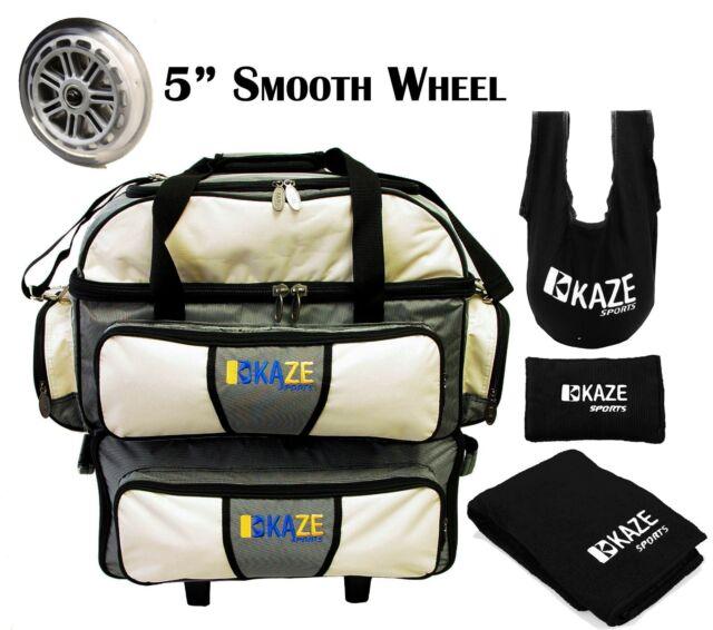 Kaze Sports 4 Ball Double Decker Bowling Bag Roller Tote See Saw Grip Sack Towel
