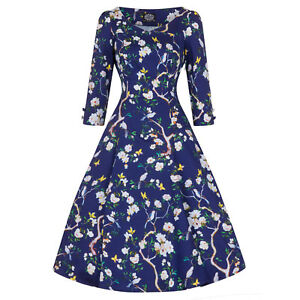 Hearts-amp-Roses-London-Blue-Floral-Butterfly-Vintage-Retro-1950s-Flared-Tea-Dress