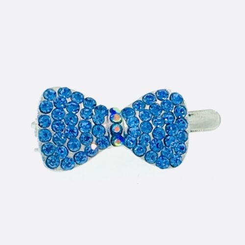 USA Magnet Hair Clip Rhinestone Crystal Hairpin mini Barrette BOW Blue 2-5