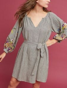 172b61aeff7 Image is loading Anthropologie-Lindsey-Embroidered-Tunic-Dress -by-FeatherBone-Sz-