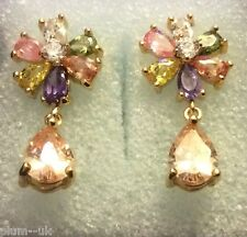 K06 Multi-coloured tourmaline gold pear stud drop dangle earrings (14k GF) BOXD