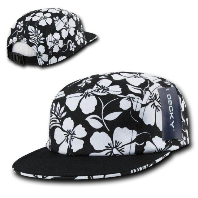 Black   White Floral Hawaiian 5 Panel Cotton Racer Jockey Flat Bill Cap Hat  Hats c3d36cfe237