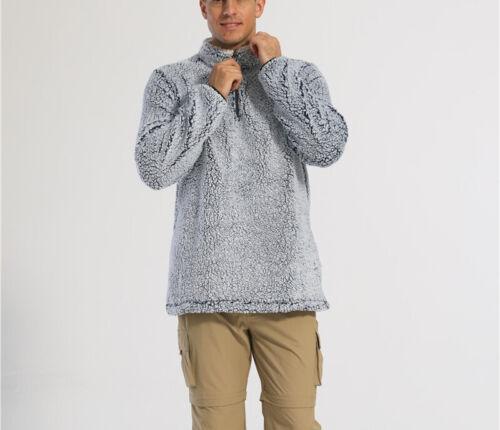 Mens Military Cargo Fleece Jackets Sherpa Pullover 1//4 Zip Sweater Winter Coats
