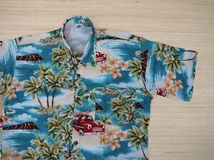 Hawaiihemd-Hawai-Hawaii-Hemd-Viskose-tuerkis-Palmen-gruen-Auto-rot